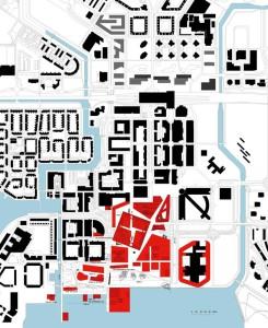 Lo spazio urbano è ritagliato tra gli elementi giustapposti dell'architettura
